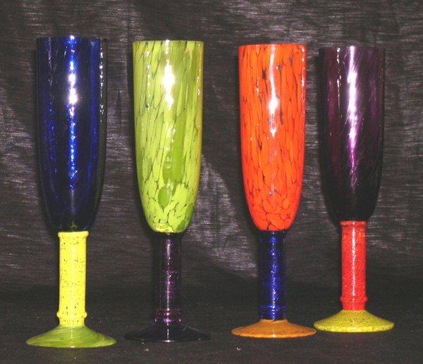1262: Murano Glass Champagne Flutes - 2