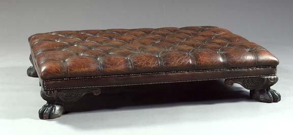 8: Georgian-Style Leather and Mahogany Ottoman