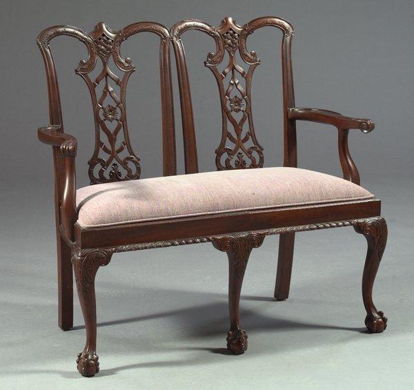 10: George III Mahogany Double Chair-Back Settee,