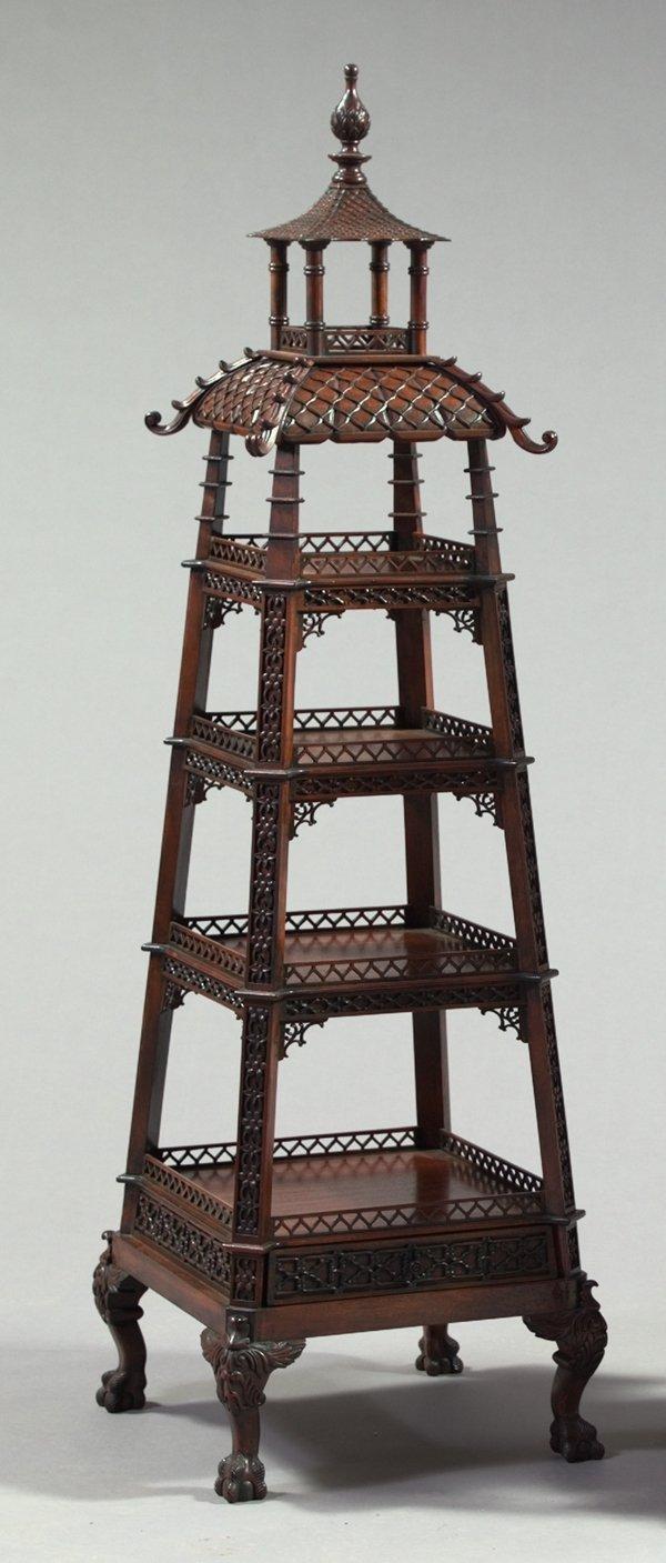 13: George III-Style Pagoda-Form Tiered Etagere,