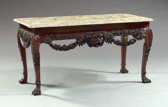15: English Faux-Marbre Painted and Mahogany Table