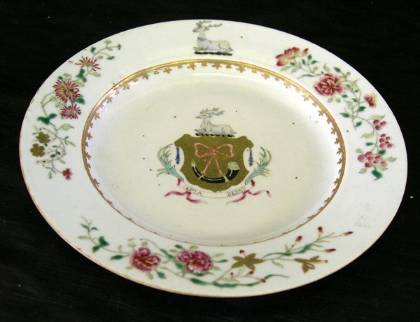 16: Chinese Export Armorial Porcelain Broth Plate