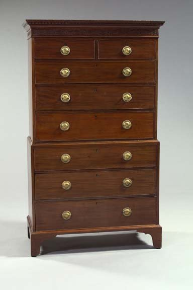 23: English Victorian Mahogany Double Chest of Drawers