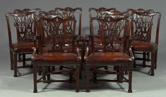 24: Suite of Twelve English Mahogany Dining Chairs