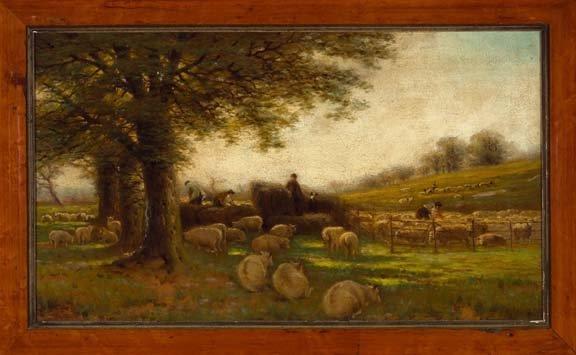 "129: Sir Alfred East (British, 1849-1913) ""Sheep Sheari"