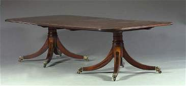 405 Good English Inlaid Mahogany TriplePedestal Table