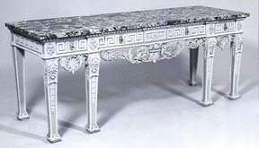 557 Louis XVIStyle Polychromed and MarbleTop Table