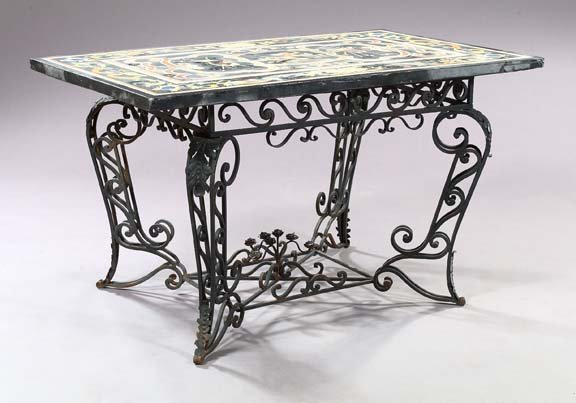 715: Italian Wrought-Iron and Marble Top Conservatory T