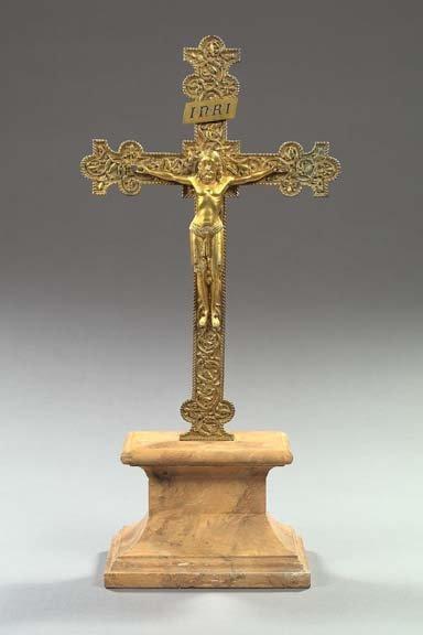 755: Italian Gilded Bronze Crucifix,