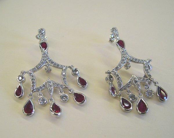 760: Gold, Ruby and Diamond Chandelier Earrings