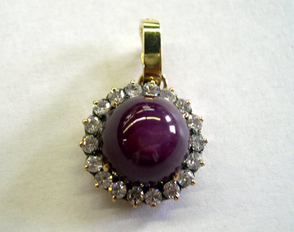 767: Gold, Zircon and Cabochon Ruby Pendant