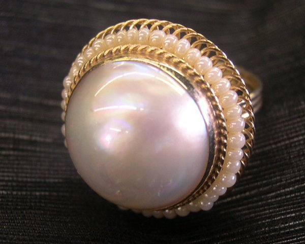 768: Lady's Fourteen-Karat Yellow Gold Mabe Pearl Ring