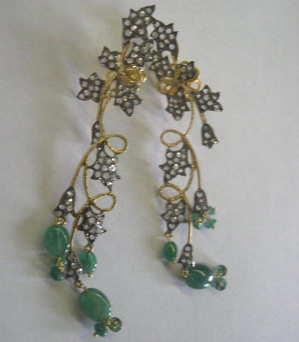 769: Gold and .800 Fine Silver Chandelier Earrings
