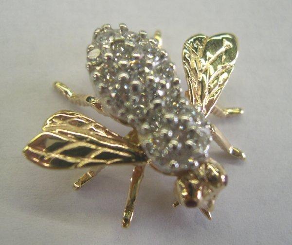"770: Gold and Diamond ""Bumblebee"" Pendant"