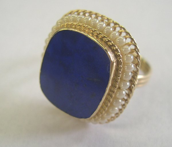 771: Gold, Lapis and Pearl Dinner Ring
