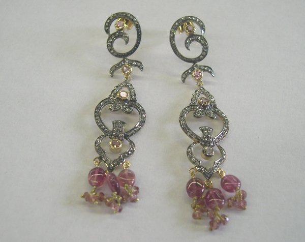 774: Gold and .800 Fine Silver Chandelier Earrings