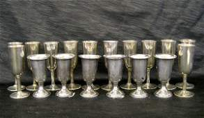 1130: Group of Eighteen Sterling Silver Liqueur Goblets