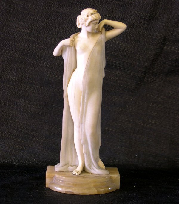 1250: Good Continental Carved Ivory and Alabaster Figur