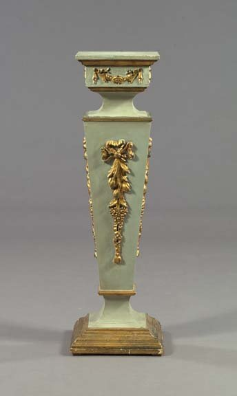 9: Louis XVI-Style Polychromed and Giltwood Pedestal
