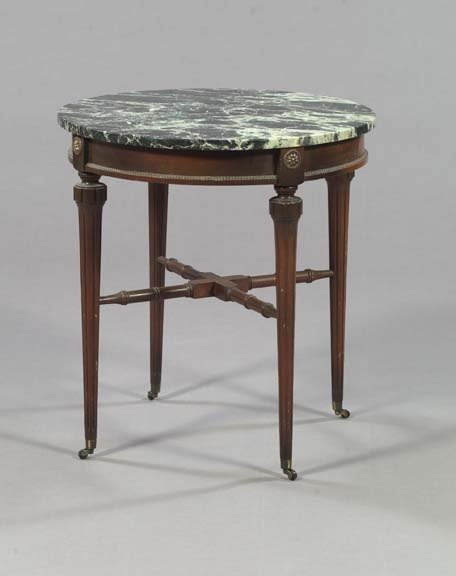 11: Louis XVI-Style Mahogany Marble-top Side Table