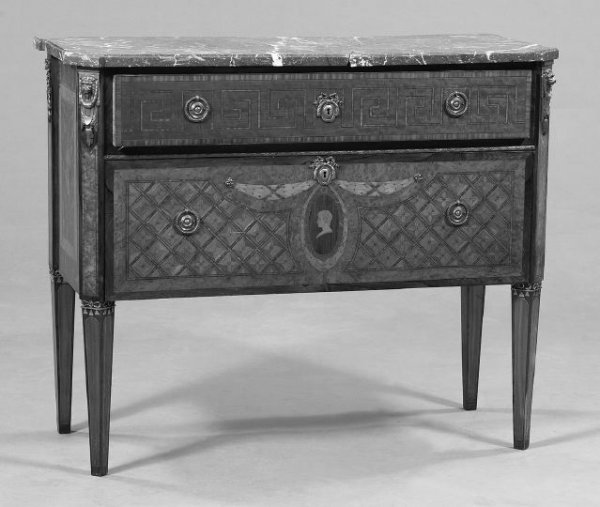 17: Scandinavian Kingwood and Marquetry Commode