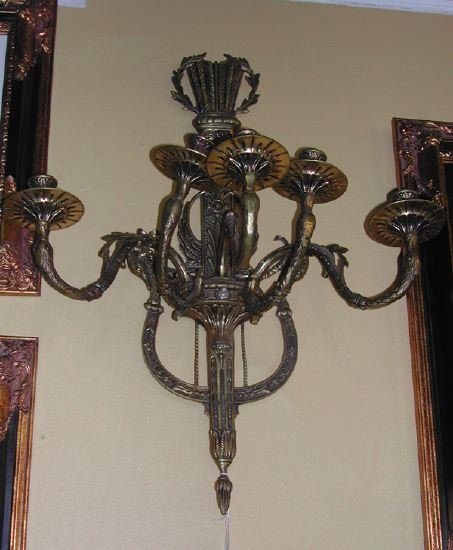 "21: French ""Quiver and Lyre"" Brass Five-Light Applique"