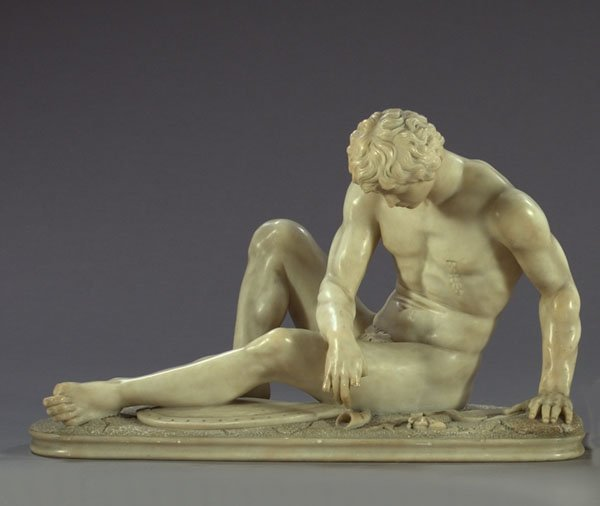 67: Italian Carved Carrara Marble Figure The Dying Gaul