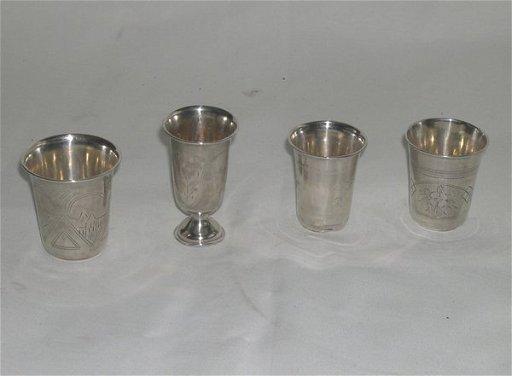 649: Russian 84 Zolotnik ( 875) Silver Kiddush Cups