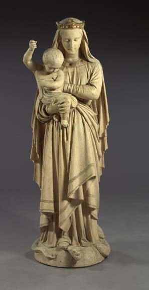 801: Large French Plaster Group of the Virgin and Child