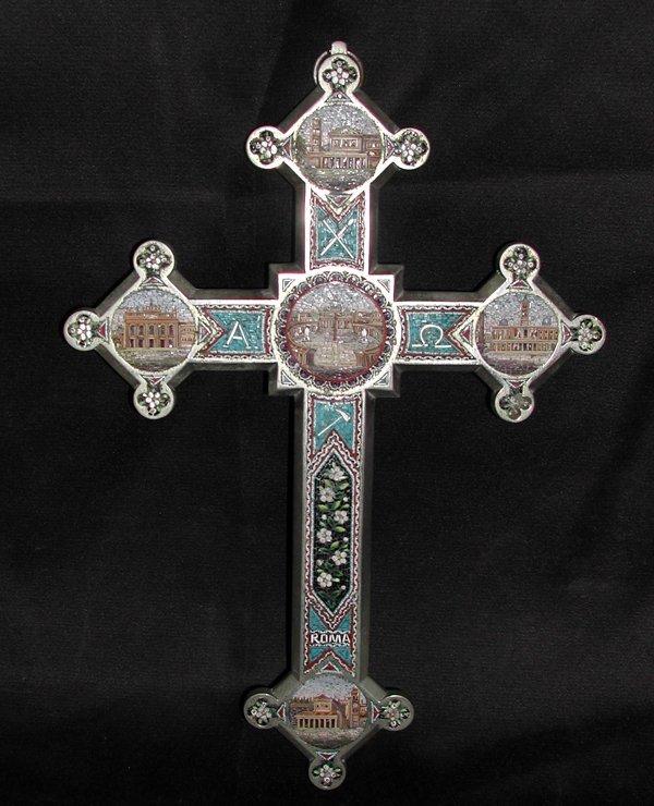 805: Large Italian Chromium and Micro-Mosiac Cross