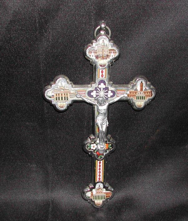 806: Italian Chromium and Micro-Mosaic Crucifix