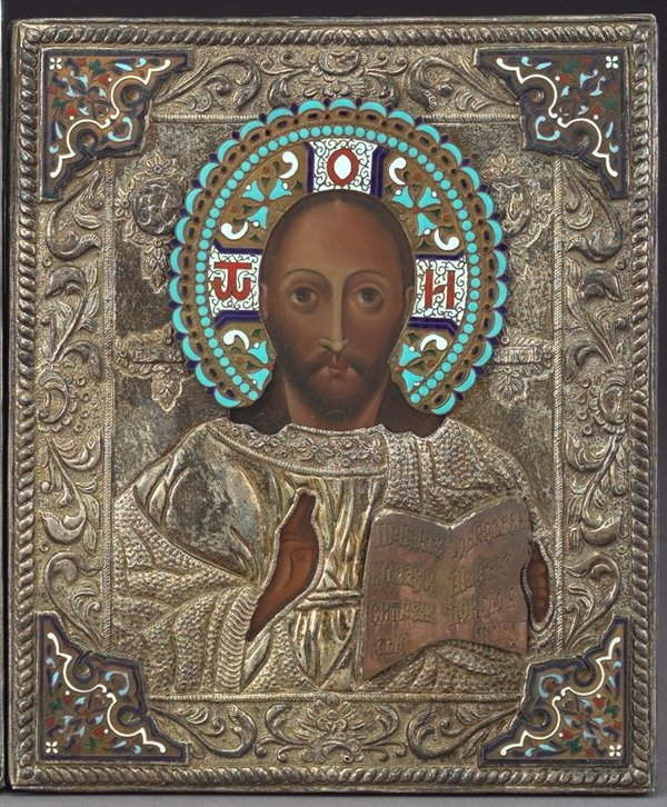 812: Russian Polychromed Wood Ikon