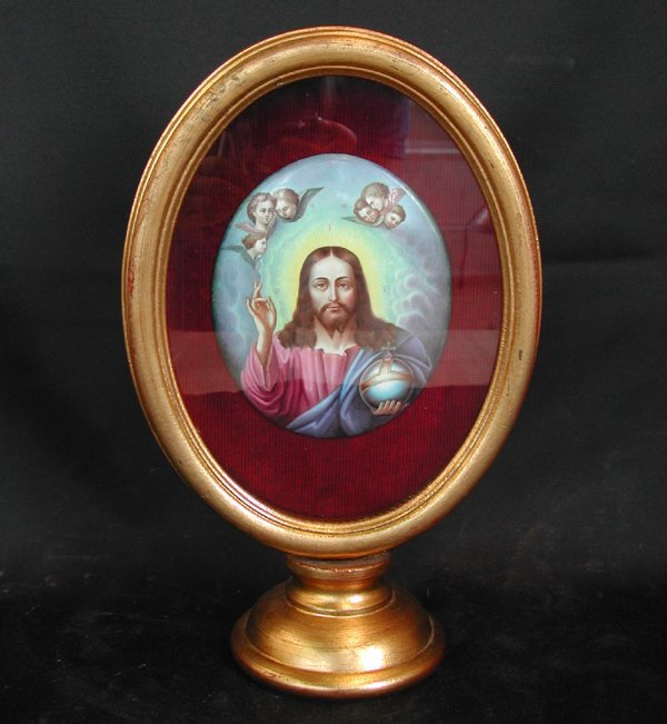817: Italian Polychromed Porcelain Plaque