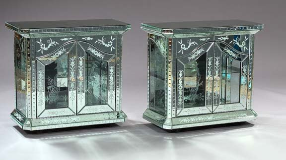 1293: Venetian-Style Etched and Pressed Glass Vitrine