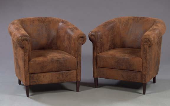 1353: Art Deco-Style Barrel-Back Faux Leather Pub Chair
