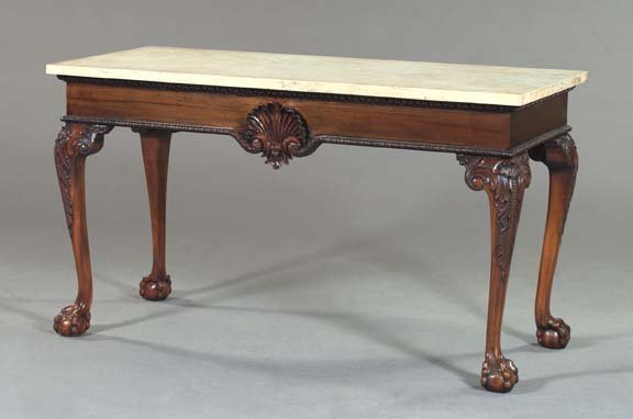 1: George III-Style Mahogany and Marble-Top Side Table