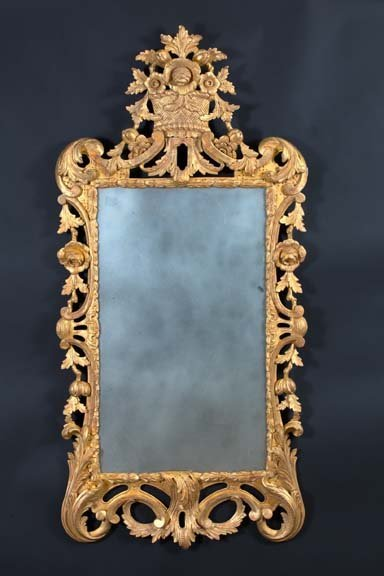 9: Tall Upright English Carved Giltwood Mirror