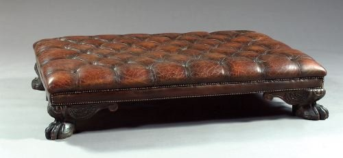 10: Early Georgian-Style Leather and Mahogany Ottoman
