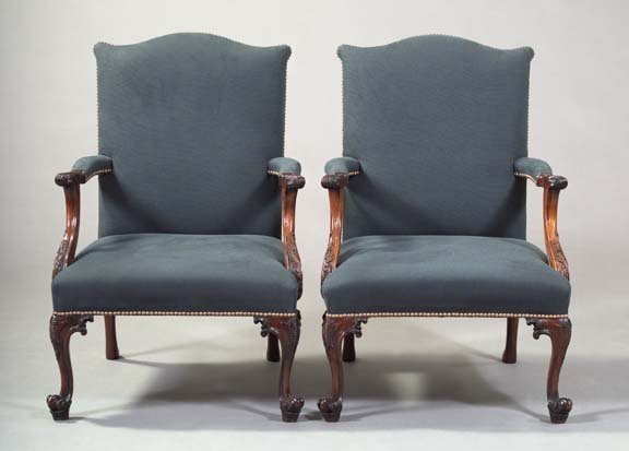 12: Pair of George III-Style Mahogany Armchairs