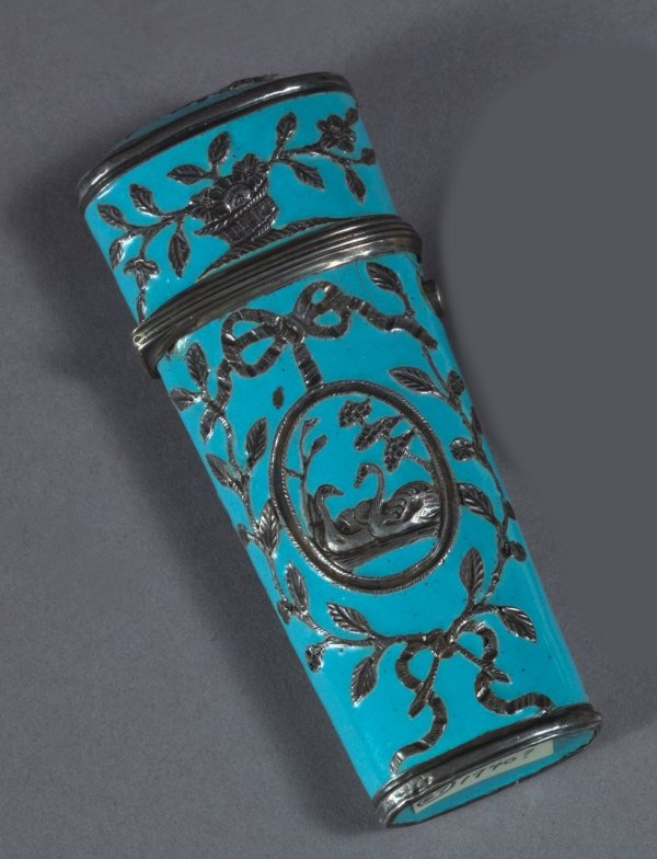 14: South Staffordshire Sky-Blue Enamel and Silver Etui
