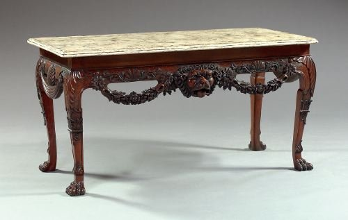 19: English Faux-Marbre Painted and Mahogany Table