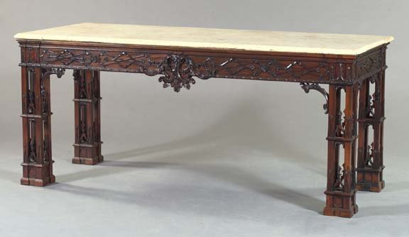 21: George III-Style Mahogany and Marble-Top Side Table