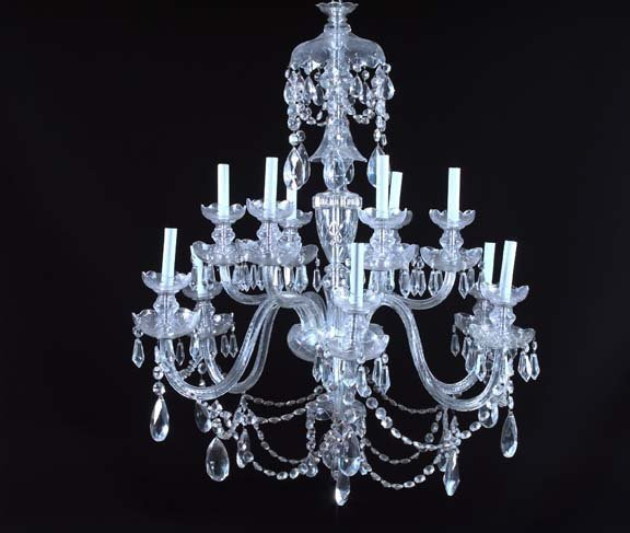 24: Large English Tiered Twelve-Light Cut Glass Chandel