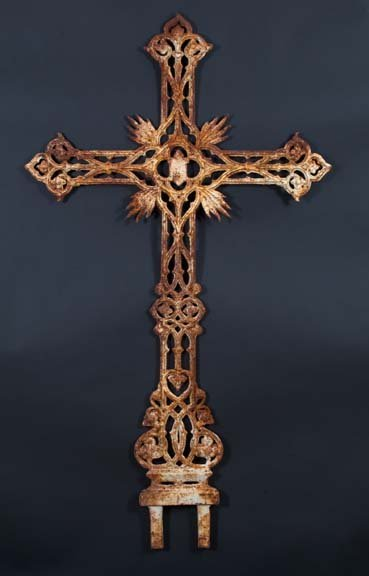 750: Large French Cast-Iron Memorial Cross
