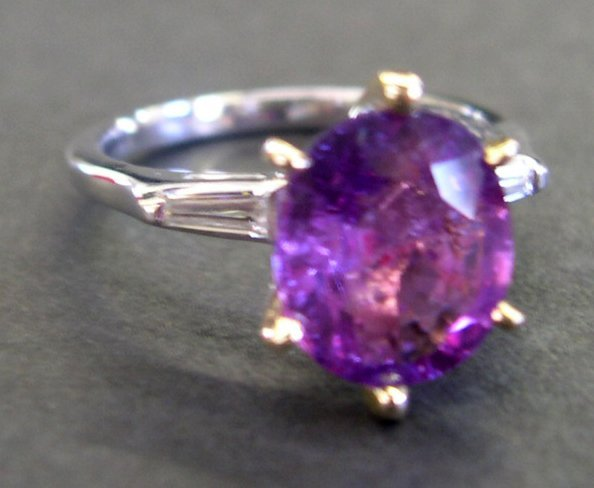 763: Gold, Pink Sapphire and Diamond Engagement Ring