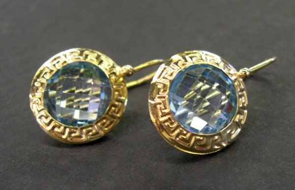 765: Gold and Blue Topaz Earrings