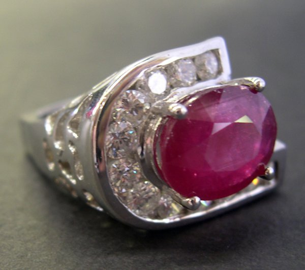 769: Gold, Ruby and Diamond Initial Ring