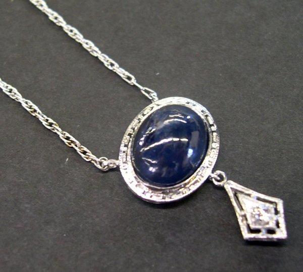 770: Gold Filigree, Cabochon Sapphire and Diamond Neckl