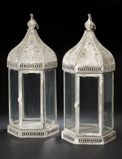 823: Tall Pair of English Metal Pendant Portico Lantern