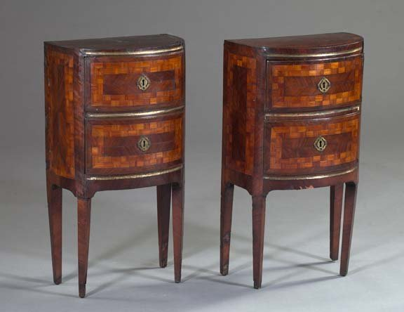 981: Good Pair of Parquetry-Inlaid Kingwood Side Tables